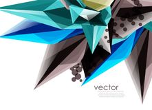 Color glass crystals on white background, geometric abstract composition with glass gemstones and copyspace, background. Vector color glass crystals on white royalty free illustration