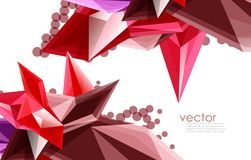 Color glass crystals on white background, geometric abstract composition with glass gemstones and copyspace, background. Vector color glass crystals on white Stock Photos