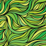 Vector color hand-drawing seamless wave  background. Green abstr Royalty Free Stock Photos