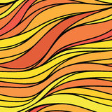 Vector color hand-drawing seamless wave background. Red and yell Royalty Free Stock Photography