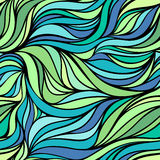 Vector color hand-drawing wave sea background. Blue abstract ocean texture. Stock Photography