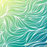 Vector color hand-drawing wave sea background. Blue abstract ocean texture. Royalty Free Stock Photo