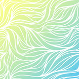 Vector color hand-drawing wave sea background. Blue abstract ocean texture. Royalty Free Stock Images