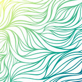 Vector color hand-drawing wave sea background. Blue abstract ocean texture. Stock Image