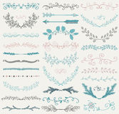 Vector Color Hand Drawn Dividers, Branches, Swirls Stock Images