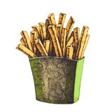 Vector color hand drawn tasty french fries in paper box.  Stock Photo