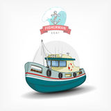 Vector color handdrawn illustration of a  fishing boat.  Side view. Royalty Free Stock Image