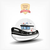 Vector color handdrawn illustration of a  police boat. Side view. Royalty Free Stock Photos