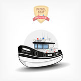Vector color handdrawn illustration of a  police boat. Side view. Royalty Free Stock Photo