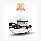 Vector color handdrawn illustration of a  police boat. Side view. Royalty Free Stock Image