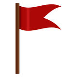 Vector Color Icon - Red Flag on Brown Wodden Flagpole stock illustration