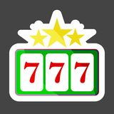 Vector color icon winnings in the casino. Jackpot icon 777. Slot. Machine colored sticker icon. Layers grouped for easy editing illustration. For your design royalty free illustration
