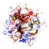 Vector color illustration american football player. Vector illustration american football player. White illustration on watercolor background Stock Photo