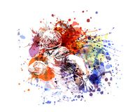 Vector color illustration american football player. Vector illustration american football player. White illustration on watercolor background Stock Images