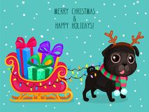 Vector color illustration of Christmas dog. Greeting card, cute black pug with Christmas sleigh and gifts. Symbol of 2018 Stock Illustration