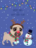 Vector color illustration of christmas dog and snowman. Christmas greeting card with pug. Symbol of new year 2018. Vector greeting card with pug, snowman, text Vector Illustration