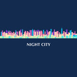 Vector color illustration of city skyline panorama at night Royalty Free Stock Images