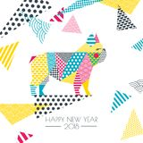 Vector color illustration of french bulldog dog with patchwork geometric triangle texture. New Year greeting card. Vector color illustration of french bulldog Royalty Free Stock Image