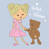 Vector color illustration. Girl with teddy bear. Stock Image