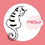 Vector color illustration of the hand drawn sketch of cat with text meow in cloud form speech bubble.Cartoon cat Royalty Free Stock Photos