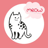 Vector color illustration of the hand drawn sketch of cat with text meow in cloud form speech bubble.Cartoon cat Royalty Free Stock Image