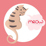 Vector color illustration of the hand drawn sketch of cat with text meow in cloud form speech bubble.Cartoon cat Royalty Free Stock Photography