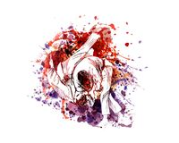 Vector color illustration of judo fighters. Watercolor illustration of judo fighters. Vector illustration Royalty Free Stock Image