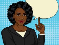 Vector color illustration of successful African American business woman. Happy beautiful lady in office suit shows thumb up. Lady boss points up. Design Banner vector illustration