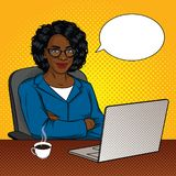 Vector color illustration of successful African American businessmen in office room. Happy beautiful lady with arms crossed sitting in a chair in front of a royalty free illustration