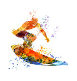 Vector color illustration surfer Royalty Free Stock Photo