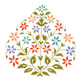 Vector color illustration symmetric blooming plant with flowers and leaf Stock Photography