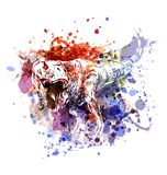 Vector color illustration tyrannosaurus. White illustration on watercolor background Royalty Free Stock Photography