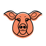 Vector color image of swine or pig head. Mascot emblem Royalty Free Stock Images