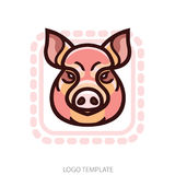 Vector color image of swine or pig head. Mascot emblem Royalty Free Stock Photos