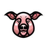 Vector color image of swine or pig head. Mascot emblem Stock Photo