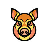 Vector color image of swine or pig head. Mascot emblem Royalty Free Stock Image
