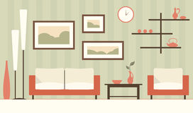 Vector color interior of cartoon green modern living room. Stock Image