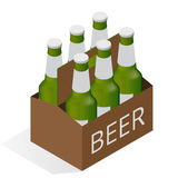 Vector color isometric icon with case of beer with six beer bottles. Flat 3d vector isometric illustration. Royalty Free Stock Images