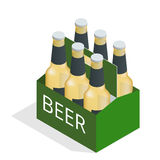 Vector color isometric icon with case of beer with six beer bottles. Flat 3d vector isometric illustration. Royalty Free Stock Photo