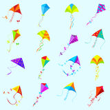 Vector color kite set. Toy , object and game, collection group different Stock Photography