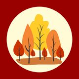 Autumn trees in circle. Vector illustration. Vector color landscape.  Graphic illustration Royalty Free Stock Image