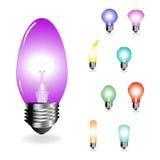 Vector color light-bulbs Royalty Free Stock Photography