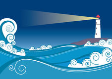 Vector color lighthouse. Color  image of lighthouse with sea Stock Images