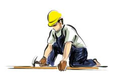 Vector color line sketch worker Stock Photography