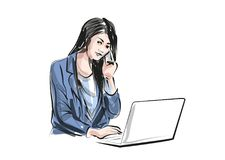 Vector color line sketch of working woman Royalty Free Stock Photos