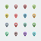 Vector color map pins icons set Royalty Free Stock Photography