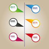 Vector color modern time line template Royalty Free Stock Image