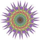 Vector color monochrome mandala. Contour spirograph, patterned design element, ethnic amulet. Bright psychedelic mandala on a white background. Doodling style Vector Illustration