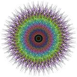 Vector color monochrome mandala. Contour spirograph, patterned design element, ethnic amulet. Bright psychedelic mandala on a white background. Doodling style Stock Illustration