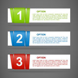 Vector color paper option labels. With number of option on ribbon stock illustration
